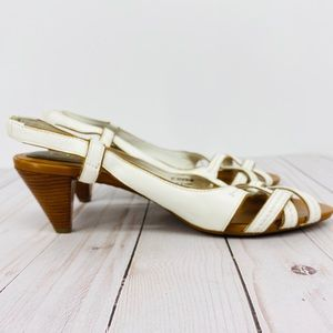 Cole Haan White Leather Sling Back Cone Sandal 8